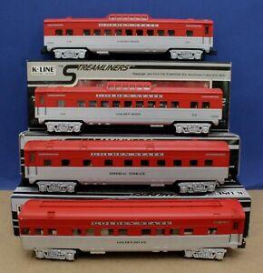 Set o 5 K-Line O Scale Golden State Streamlined passenger Cars (3 Boxed, 1 NIB)