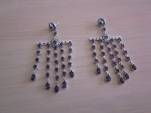 Novica Large Chandalier Earrings - Sterling Silver, Amethyst and Sapphire