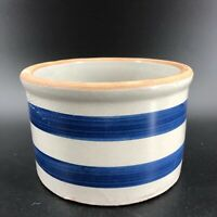 Vintage Striped Salt Glazed Pottery Planter Round Blue and Gray Round Flower Pot