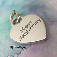 Excellent Tiffany & Co. Happy Anniversary Script Heart Silver Pendant Charm