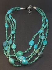 Jay King DTR Sterling Silver Four Strand Turquoise Nugget Bead Necklace