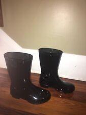UGG RAANA Rain Boots ~  Black ~ Youth Size 1 ~ NEW ~ 100% Pure Wool Sock Lining