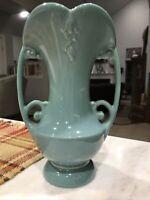 "Vintage 1940s Abingdon Sea Green - Blue 8.5"" Two Handled Vase - #522"