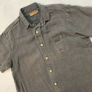DASH Hemp 100% Hemp Santa Cruz Men's Button Down Shirt Size L Black Short Sleeve