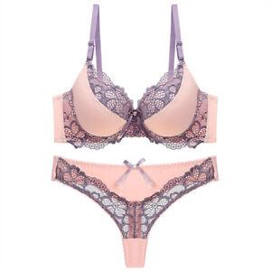 Sexy Floral Lace Bra Set Women Push up Bra & Panties Briefs Set Underwire Padded
