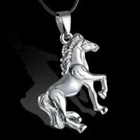 Schnur Halskette Kette Schmuck Edelstahl Kühler Silber Pferd Anhänger PU Leder