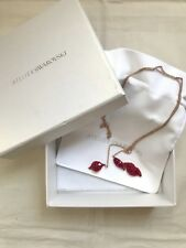 Atelier Swarovski Graceful Bloom red crystals lips pendant  chain necklace