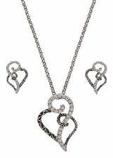 Montana Silversmiths Silver Black Rhinestones Hearts Earrings Necklace Warranty