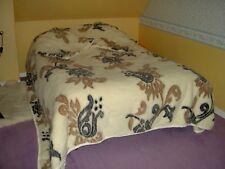 GRAND dessus lit Couverture + 2 Taies - 100% pure LAINE vierge Mouton - vintage