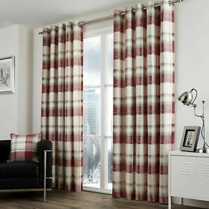Fusion Balmoral Ruby Red Check Tartan 100% Cotton Fully Lined Eyelet Curtains