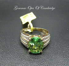 14K gold 14ct Gold Grossular Garnet and Diamond Ring Size N 7g 4.75 carats