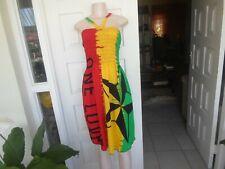 Dress Handmade Rasta Color Off Shoulder One Love Elasic Top 12 - 16 100% Cotton