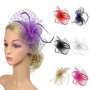 Womens Elegant Feather Flower Alice Band Headband Fascinator Wedding Party Decor