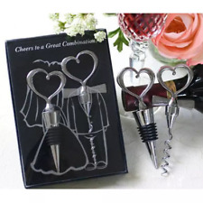 Wedding Gift Heart Corkscrew Wine Bottle Opener Wine Stopper Favors for Guests