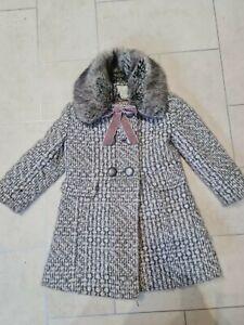 Monsoon Girls Tweed Fur Collar Coat Cute dress coat age 3-4 years