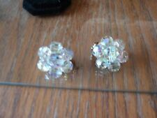Vintage Unsigned AB Faceted Crystal Beaded Cluster Gold-toned Clip Earrings