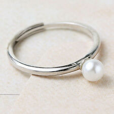 NEW Stylish 925 Sterling Silver Elegant Pearl Adjustable Ring Size 3-5