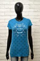 Maglia HARD ROCK Donna Taglia M Maglietta Shirt Woman Cotone Manica Corta Blu