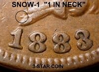 "1883 Indian Head Cent - VF+++ SNOW-1, ""1 IN NECK""  3-STAR COIN SCARCE (K783)"