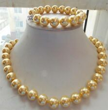8mm Gold South Sea Shell Pearl Necklace Bracelet 18''7.5'' Set  AAA