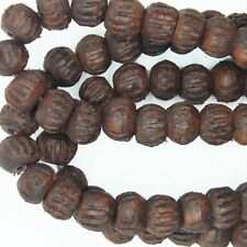 "Wood Beads Dark Carved Round from India 8-10mm 1 string 18-20"" Approx 100 beads"