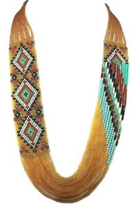 HANDCRAFTED ETHNIC NATIVE STYLE GEOMETRIC BEADED NECKLACE EARRINGS  S58/1