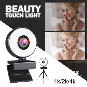 Webcam with 3 Light Modes Microphone and Tripod USB 2.0 for Gaming PC Laptop