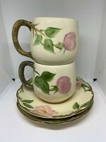 VTG Franciscan DESERT ROSE Tea Mug & Saucer Pink Made in USA 7oz Cup Set of 2