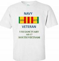 USS SANCTUARY  AH-17  *SOUTH VIETNAM* VIETNAM VETERAN RIBBON 1959-1975 SHIRT