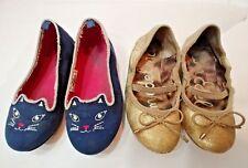 Lot 2 prs Slip On SHOES Blue Kitty OshKosh Gold Sam Edelman Flat Toddler Girl 8