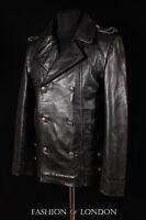 Men's SAILOR GERMAN Black ANILINE Cowhide Kriegsmarine Leather Jacket Pea Coat