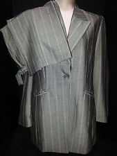 APRIORI Womens 2 Piece Pants Suit Blazer Jacket Coat Size (46) 10 Gray & White