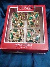 New chrismas Lenox American Design holly Berry napkin rings set of 4