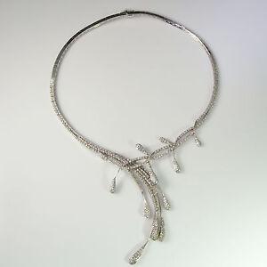 Floral Diamond Drop Necklace 18K White Gold Wedding Bridal Jewelry Bib Luxury