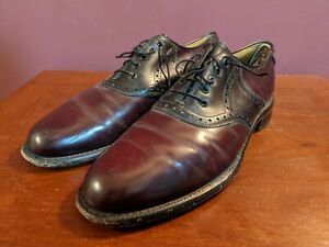 Vintage Johnston & Murphy Burgundy Leather Oxford Made In USA Size 10