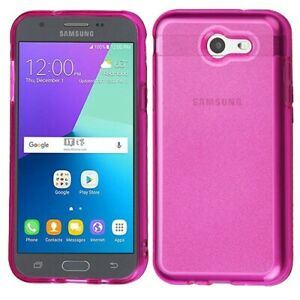 For Samsung J3 2017 J327P Emerge Hot Pink Sheer Glitter Candy Case Cover