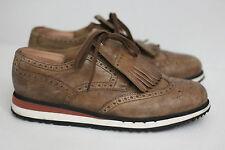 Prada Platform Kiltie Wingtip Sneaker - Tan Brown - Size 10 (Y95)