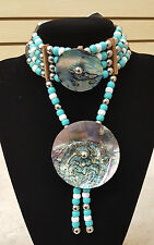 NICE 4 STRAND SILVER BEADED HAIRPIPE ABALONE DISC CHOKER WITH ABALONE DISC DROP!