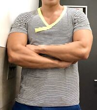 NWOT Mens Muscle Fitted Striped Modus Vivendi V Neck Shirt Fluorescent Top LNR