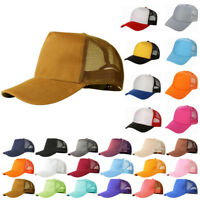 Mesh Baseball Cap Trucker Hat Blank Curved Visor Hat Adjustable Plain Cap Dote