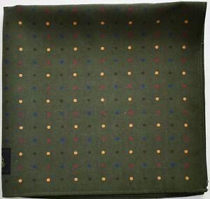 New ROBERT TALBOTT Polka Dot 100% SILK Pocket Square Pochette Handkerchief