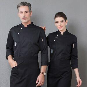 Unisex Long Sleeve Chef Coat Jacket Coat Men Women Kitchen Work Cook Uniform