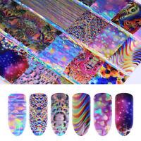 16pcs Holographic Gradient Nail Art Foils Laser Bubble Starry Transfer Stickers