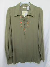 White Stag Womens 22/24W Cotton/Rayon Green Embroidered Gauzy Peasant Blouse NWT