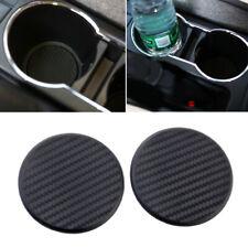 2pcs Carbon Fiber Look Car Truck Dashboard Water Cup Slot Non-Slip Mat Accessory