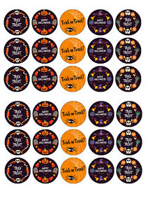 30 edible Halloween Trick or Treat Iced Icing Fondant Fairy Cupcake Toppers Cake
