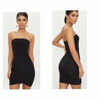 PRETTY LITTLE THING Black Bandeau Wrap Slinky Ruched Bodycon Dress (jo63)