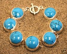 Bracelet 925 Solid Sterling Silver Turquoise Jewellery 61g Blue Stocking Filler