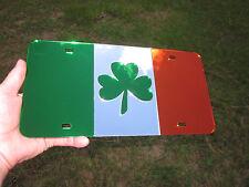 Irish flag mirror acrylic license plate shamrock tag chrome irish celtic Ireland