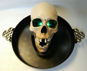 Gemmy Animated Skull Platter Candy Bowl Talks Sings Mouth Moves Eyes Light Up